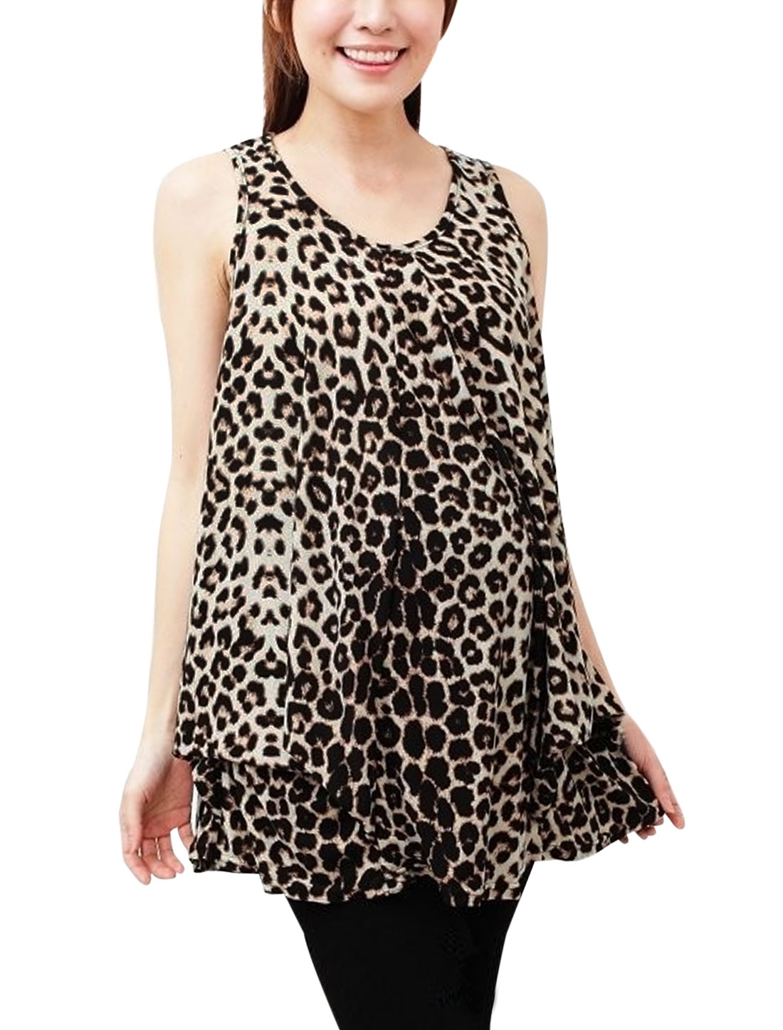 Maternity Leisure Ruched Detail Leopard Prints Top Brown M
