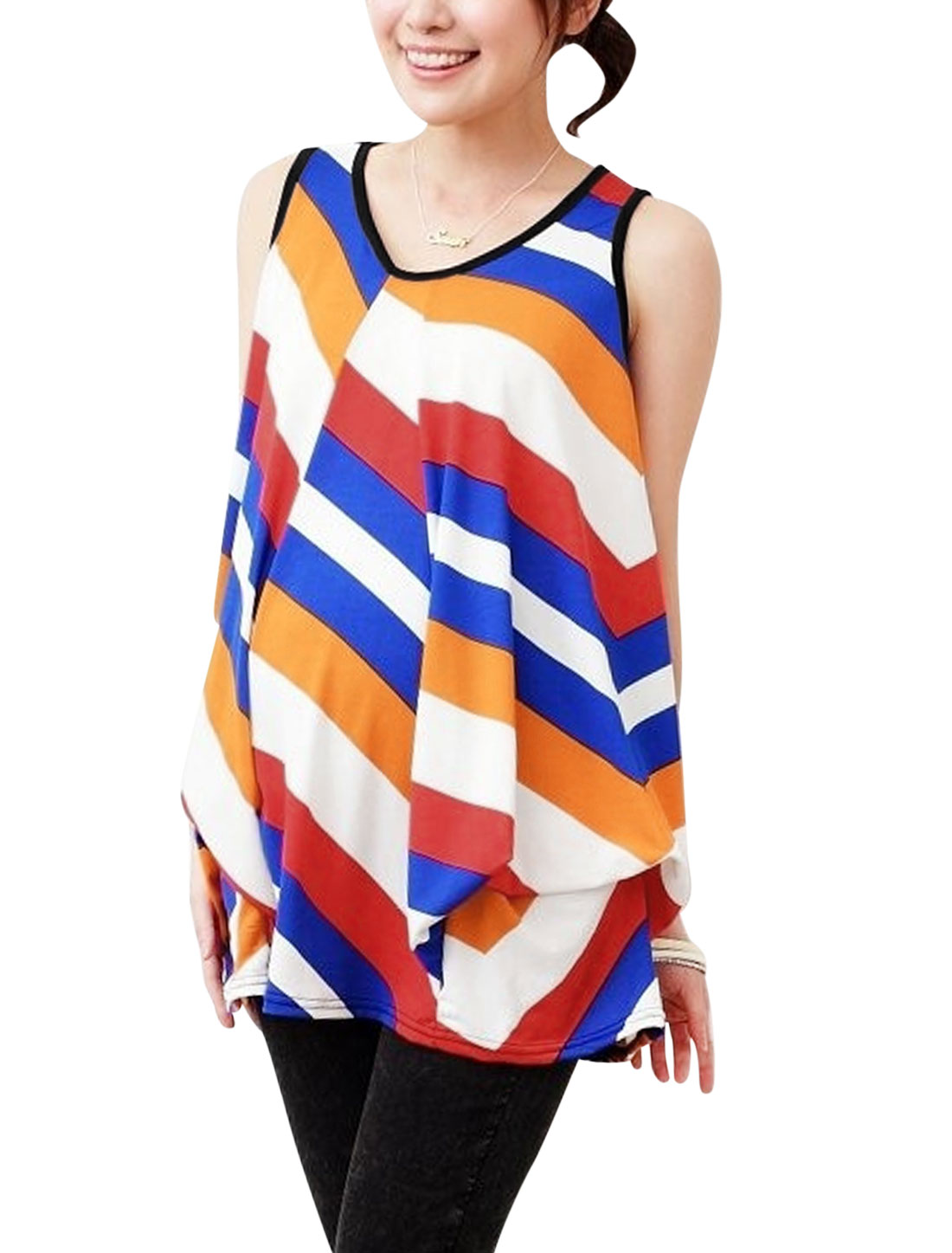 Maternity Sleeveless Ruched Detail Stripes Colorblock Top Blue White M