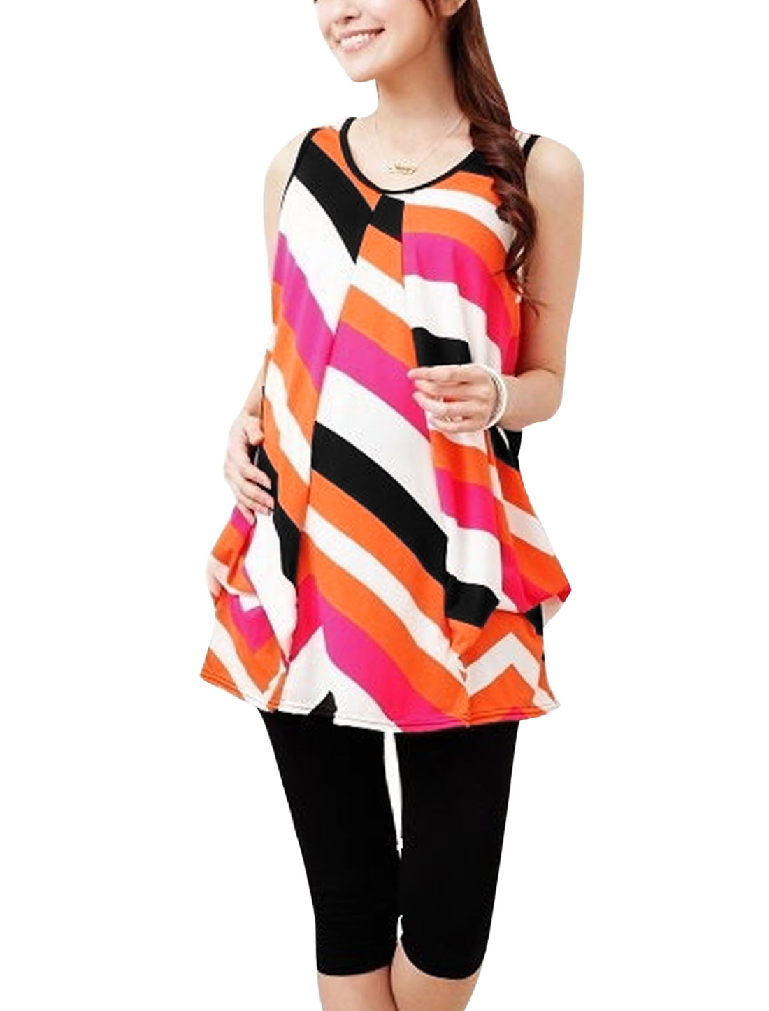 Maternity Ruched Detail Stripes Colorblock Top White Orange M
