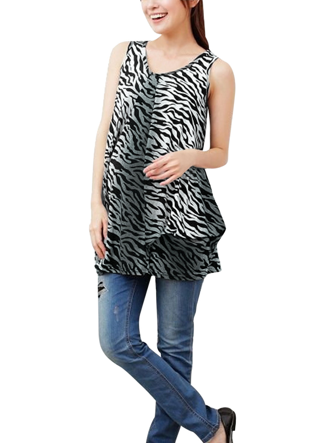 Maternity Leisure Sleeveless Ruched Detail Zebra Prints Blouse Black Gray M