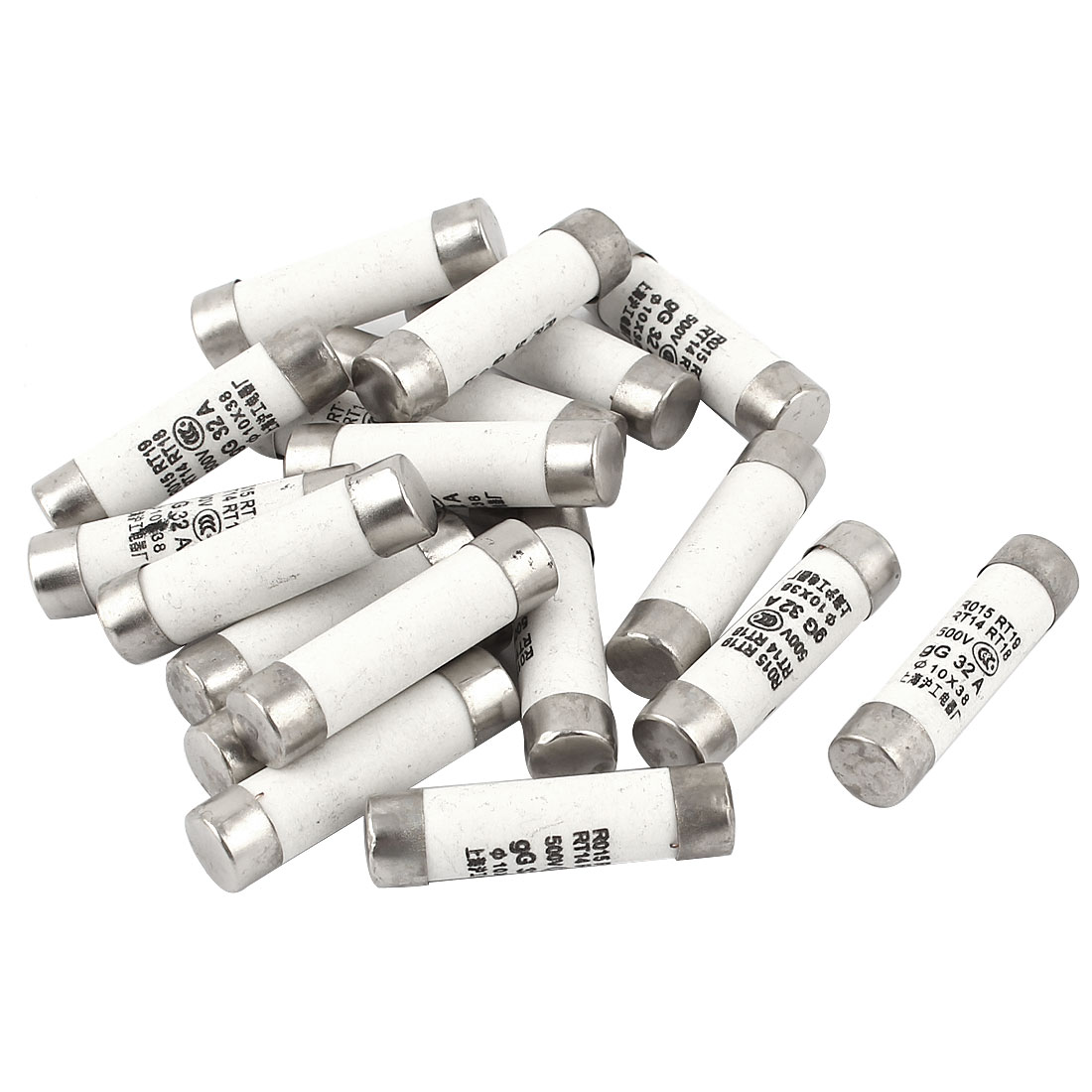 20Pcs R015RT19 Cylindrical Contact Cap Fuse Links 500V 32A 10x38mm