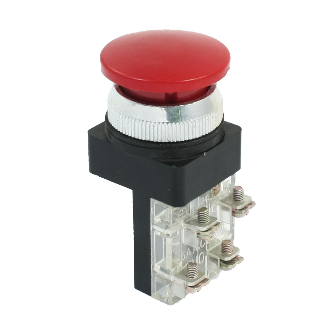 AC 250V 6A NO NC 4 Terminal Emergency Stop Momentary Mushroom Push Button Switch