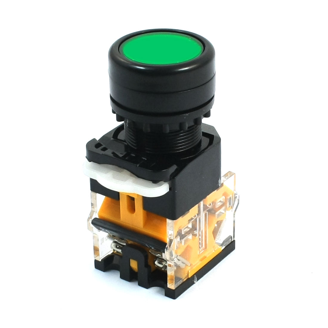 DPST 4 Screw Terminals Green Round Button Momentary Pushbutton Switch 600V 10A