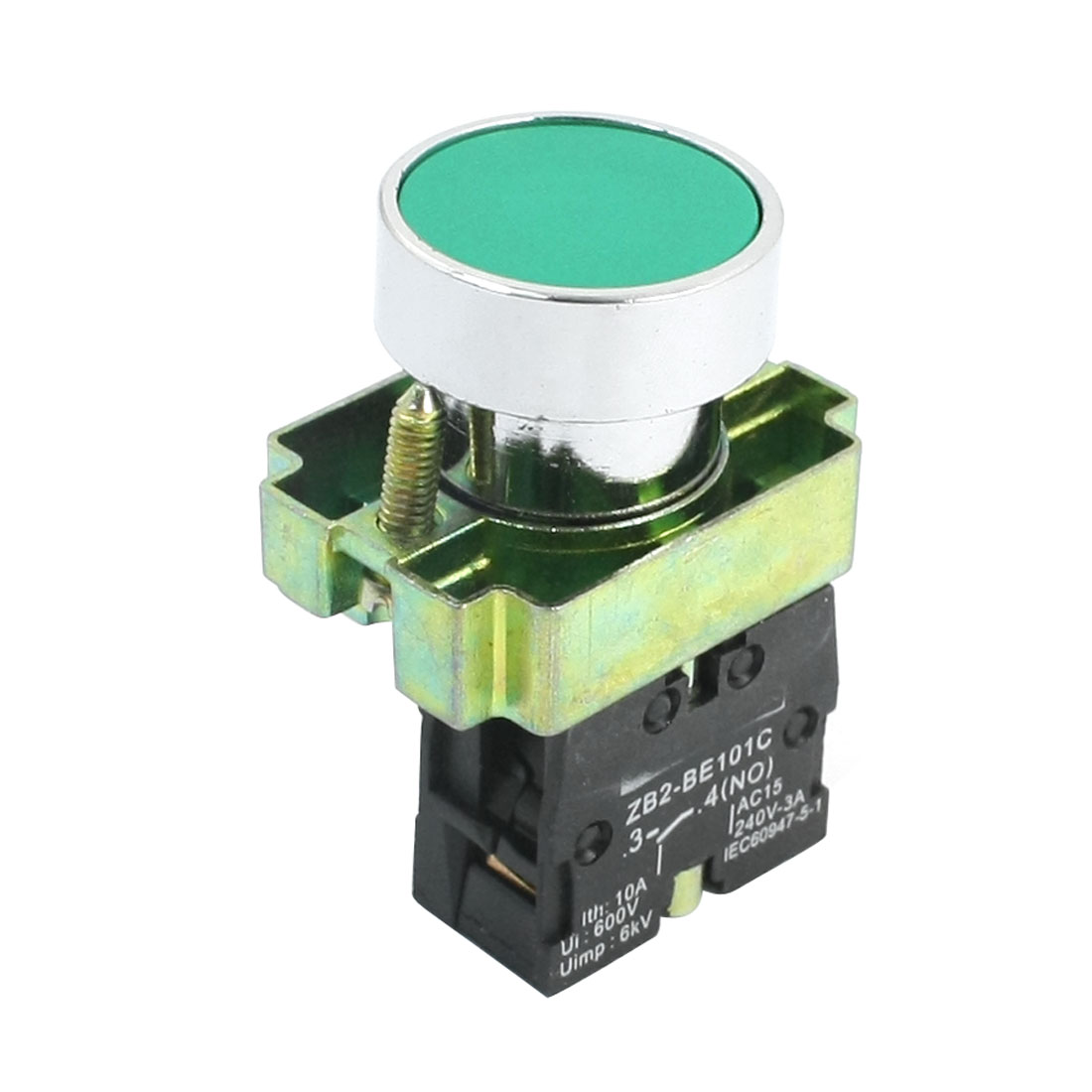 SPST 2 Screw Terminals Green Button Momentary Pushbutton Switch AC 240V 3A