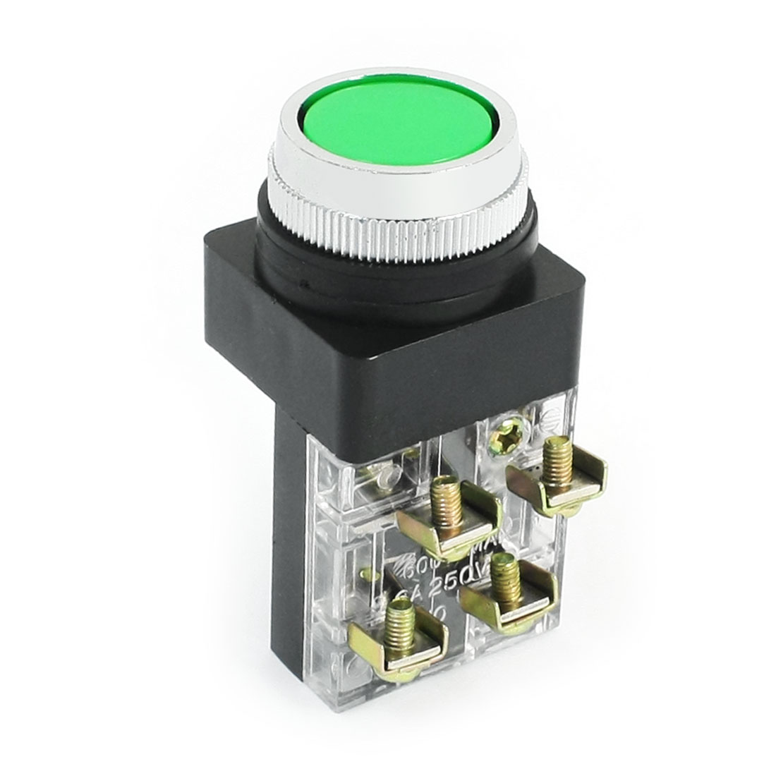 22mm Panel Mounted AC 250V 6A DPST NO NC Momentary Push Button Switch Green