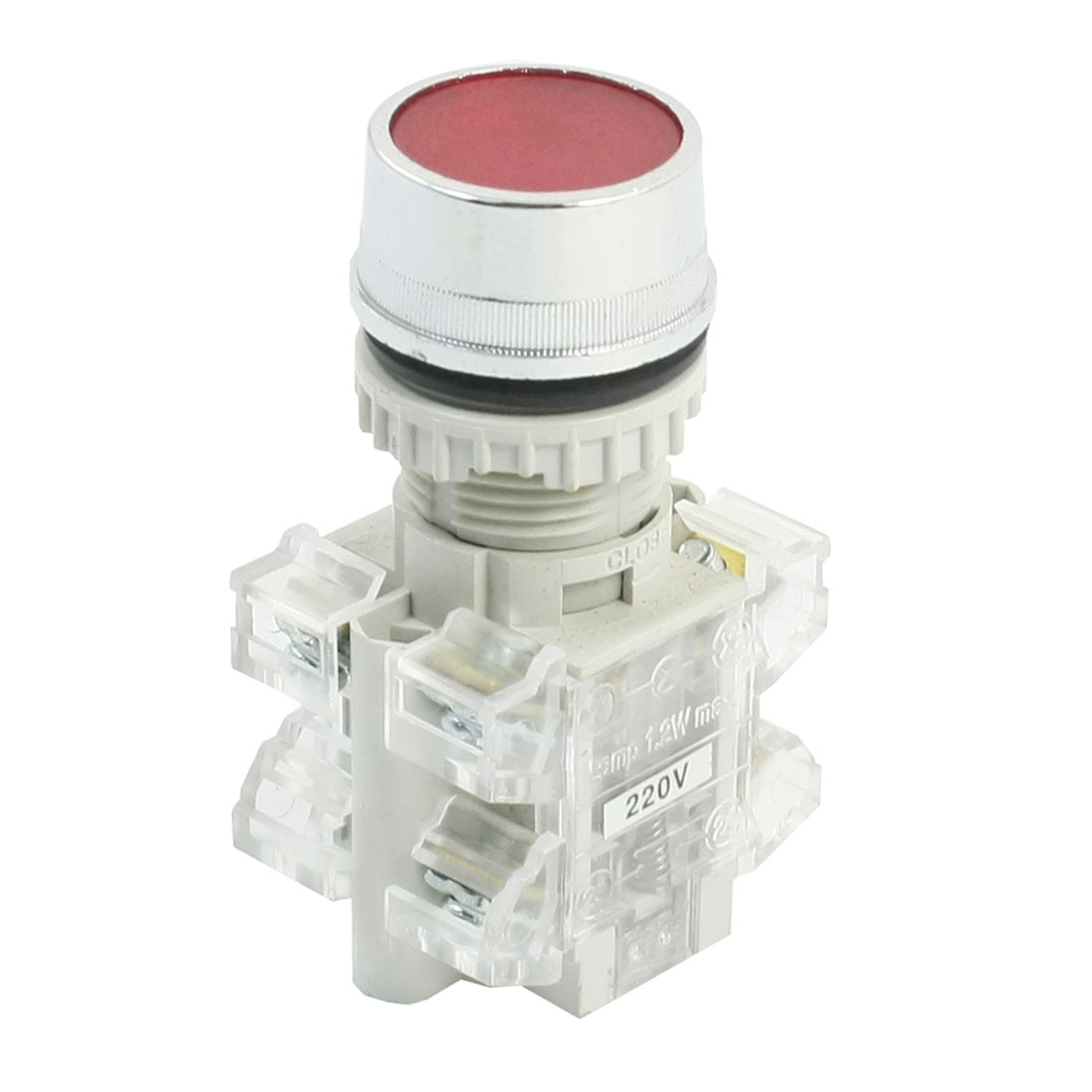 22mm Panel Mounted DPST NO NC 220V Red Lamp Momentary Push Button Switch
