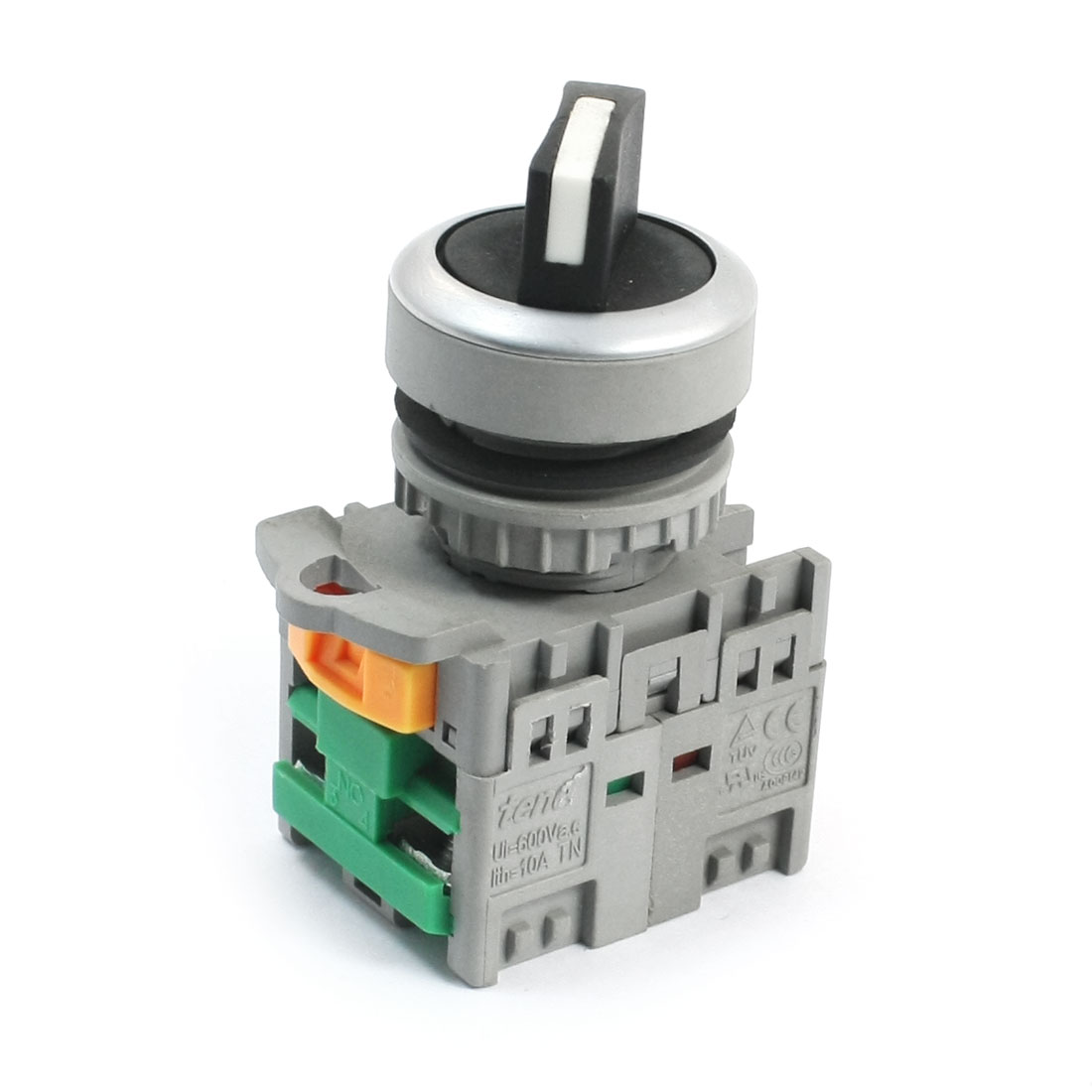 600V 10A 1NO+NC 4 Screw Terminal 2 Position Selector Locking Rotary Switch