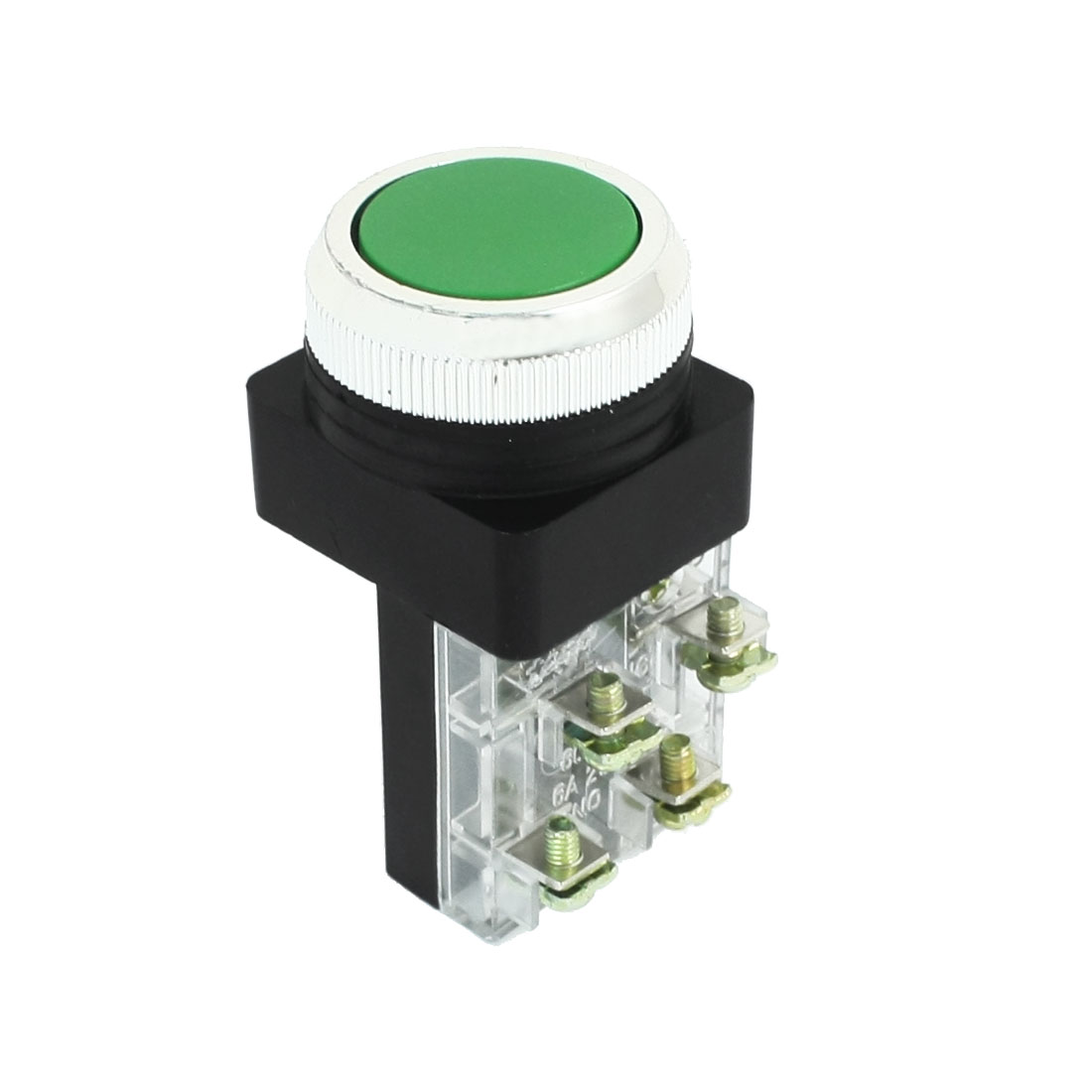 DPST 4 Screw Terminals Green Flat Button Momentary Pushbutton Switch AC 250V 6A