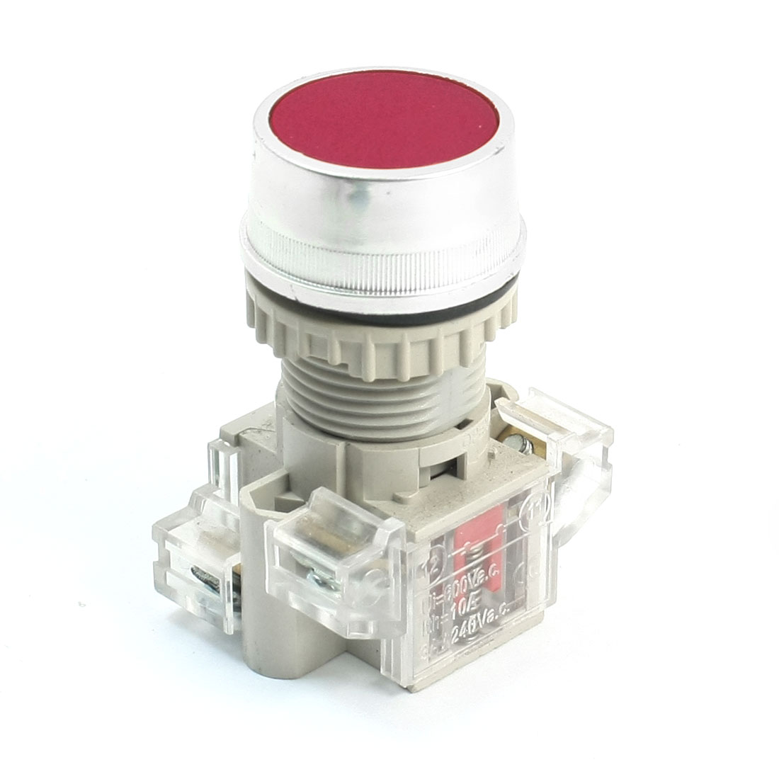 AC 240V 3A DPST 1NO 1NC Momentary Circuit Control Push Button Switch Red