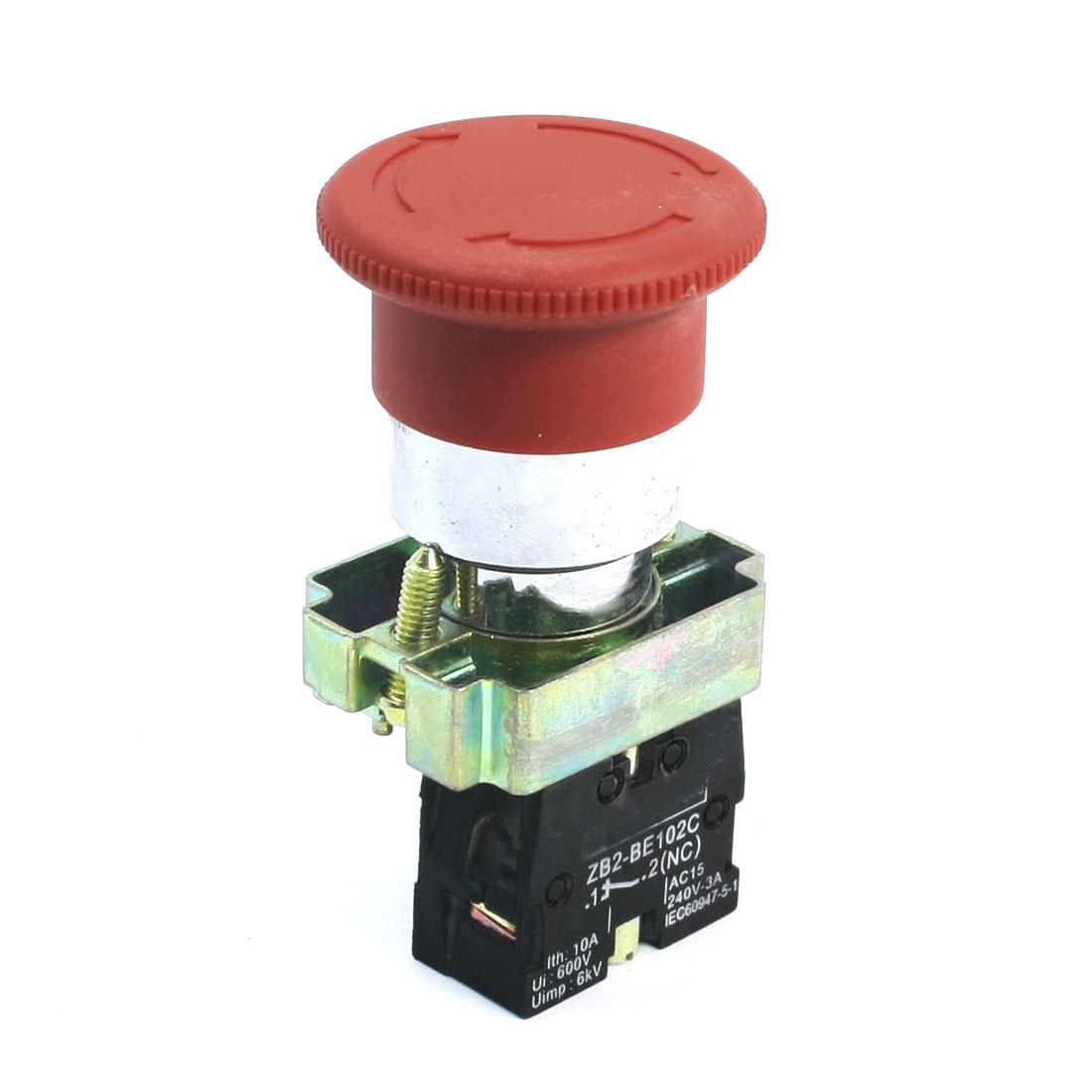 AC 240V 3A SPST 1NC Circuit Control Self-Locking Mushroom Pushbutton Switch