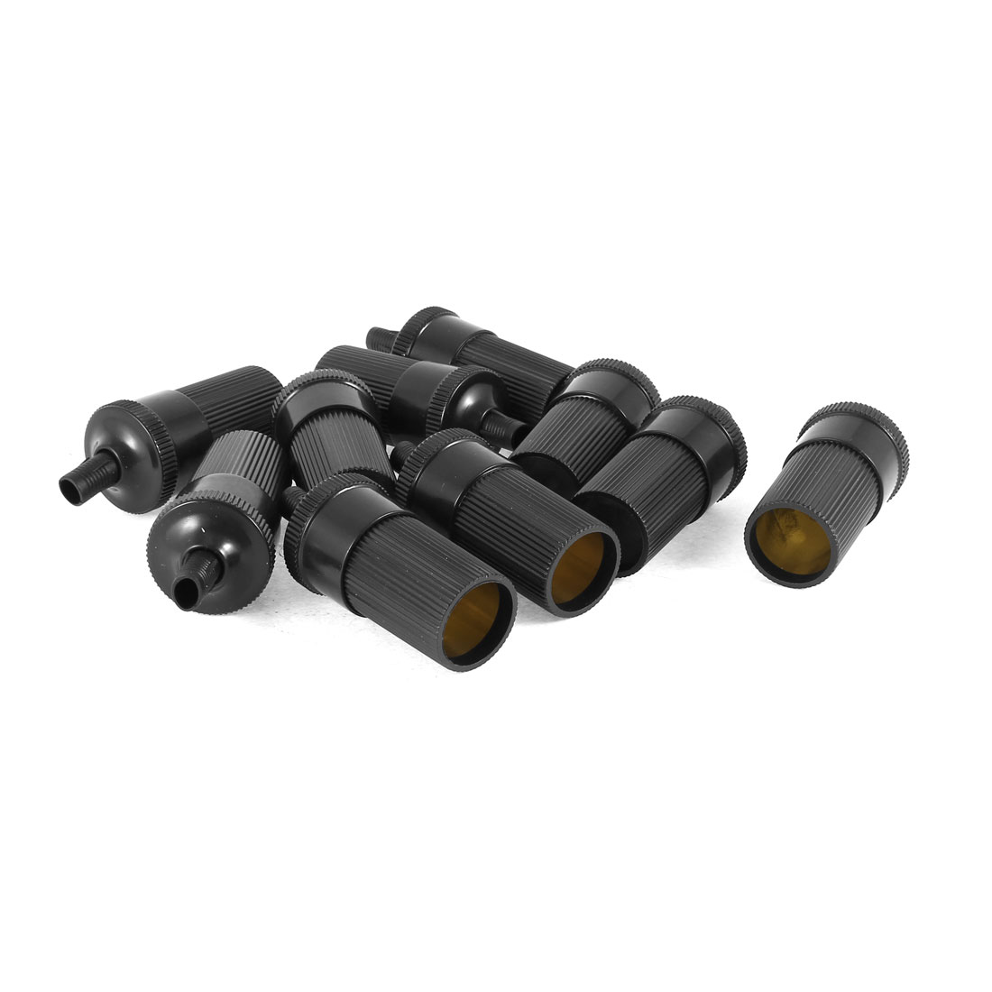 10 Pcs Black Cylinder Shape Power Charger Cigar Cigarette Lighter Socket for Car
