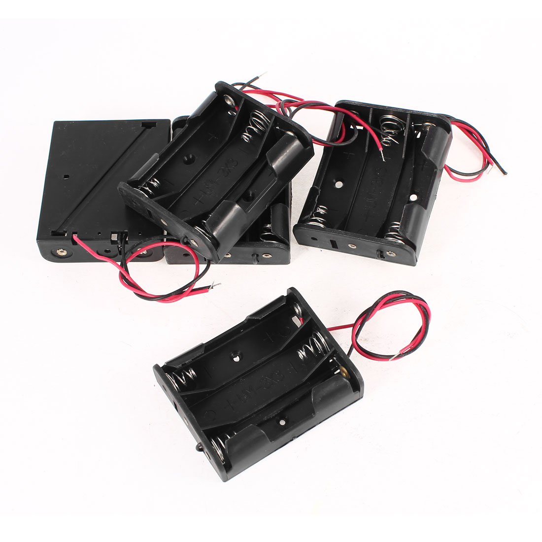 5 Pcs Black Red Wires Lead Plastic Shell Holder Case Box for 3 x 1.5V AA Battery