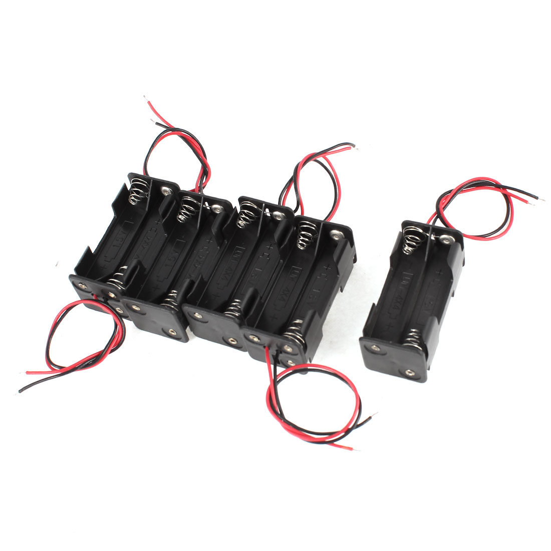 5 Pcs Black Red Wires Lead Plastic Housing Holder Case Box for 4 x AAA Batteries
