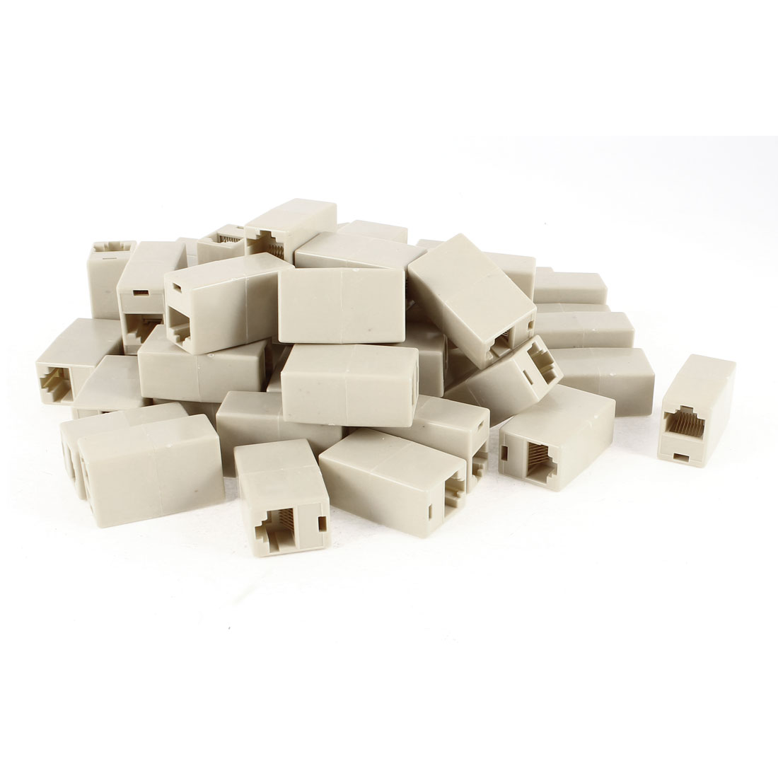 50 Pcs Beige 8P8C RJ45 Female Cat5 Ethernet Network Cable Connector Joiner Adapter Coupler