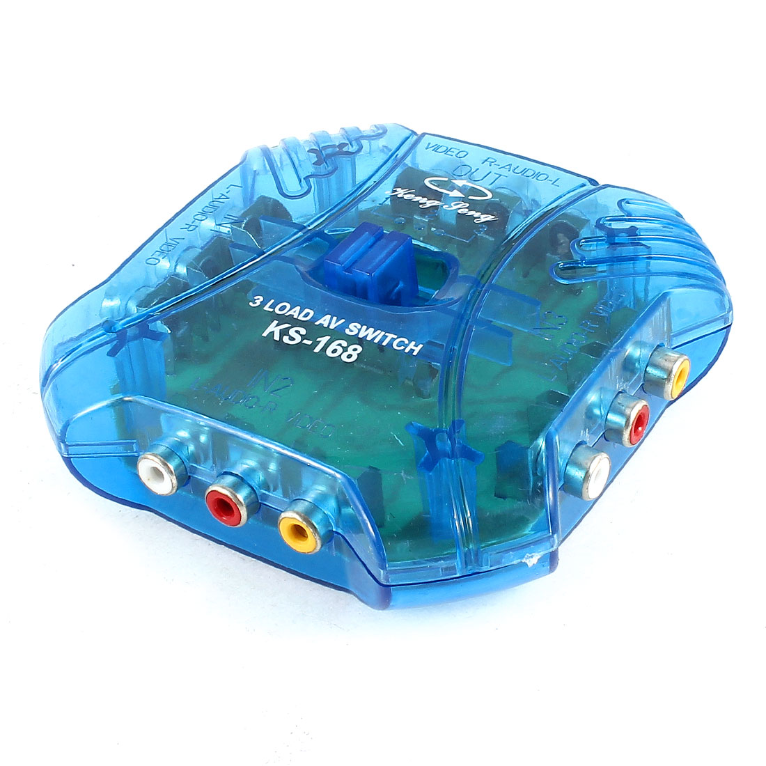 Blue 3-Ways Audio Video AV Switch Selector Box Splitter + 1.2M 4Ft 3x RCA Cable