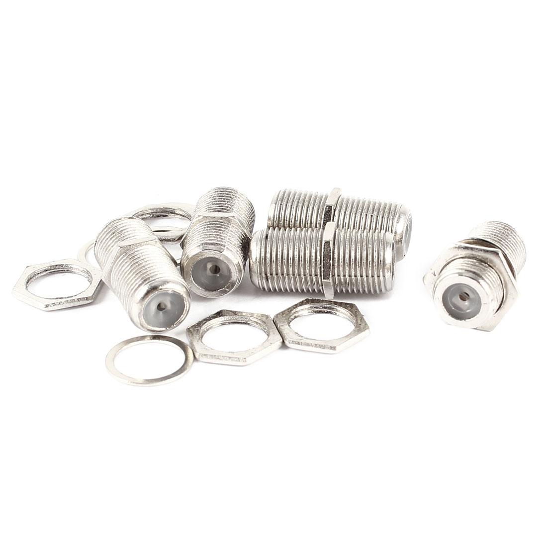 5 Pieces F-Type Female Jack Socket F/F RF Coax TV Adapter Connectors Silver Tone
