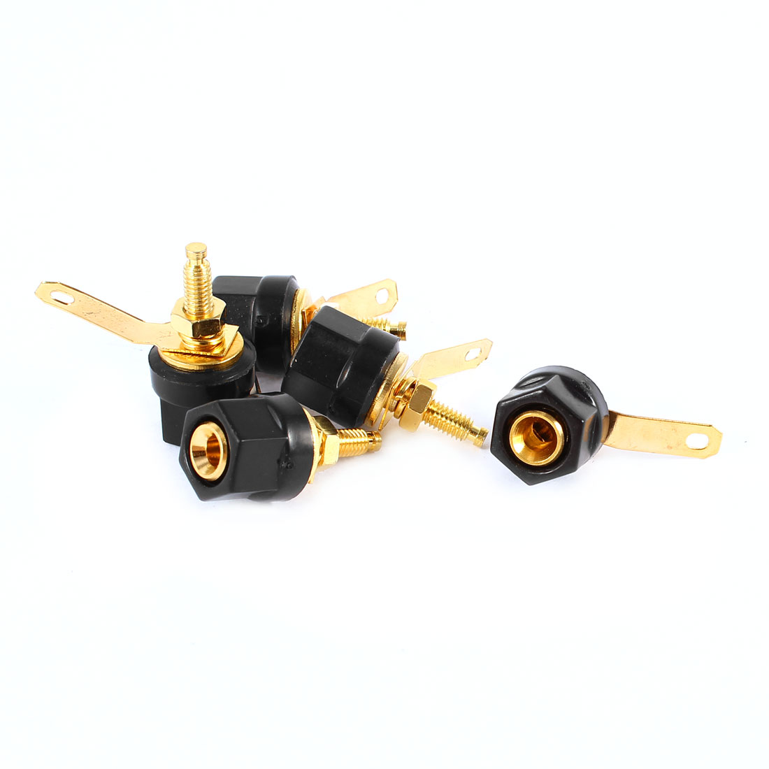 Black Hex Head Terminal 4mm Banana Plug Jack Screw Type Audio Binding Post 5 Pcs