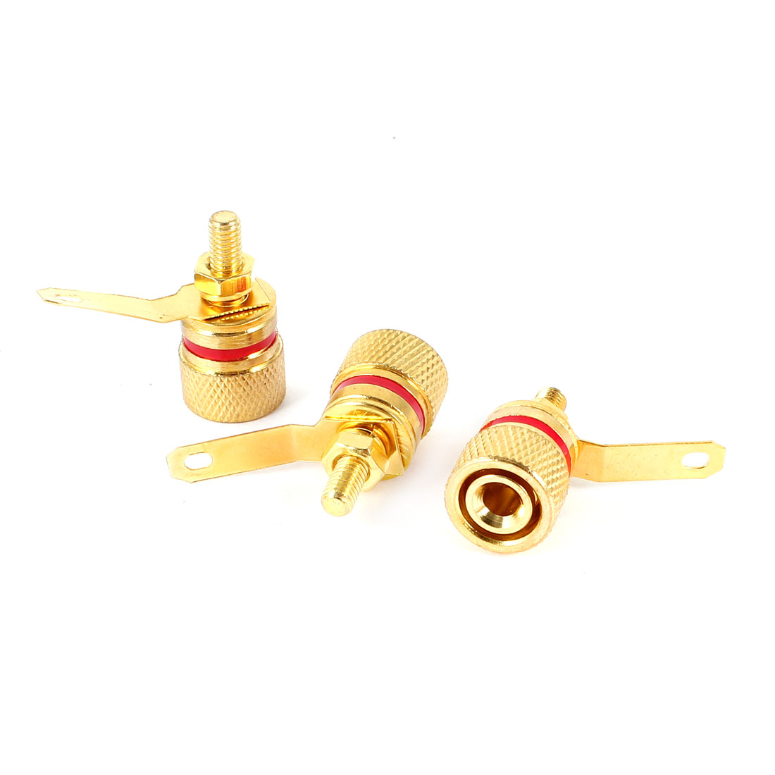3 Pcs Amplifier 4mm Banana Plug Socket 3.8mm Thread Binding Post Gold Tone Red