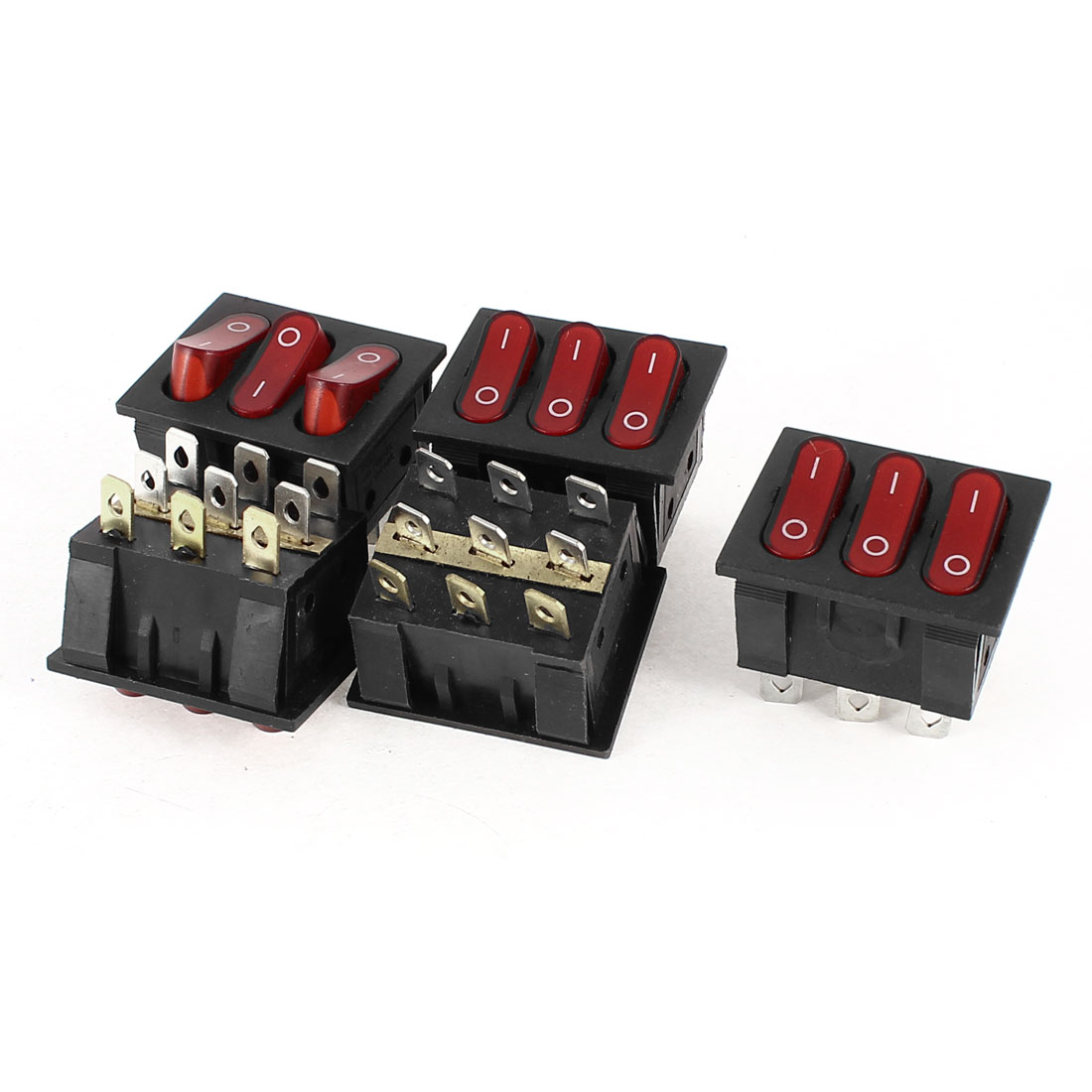 AC 250V 15A AC 125V 20A 6Pins Double SPST ON/OFF Red Lamp Rocker Switch 5 Pieces