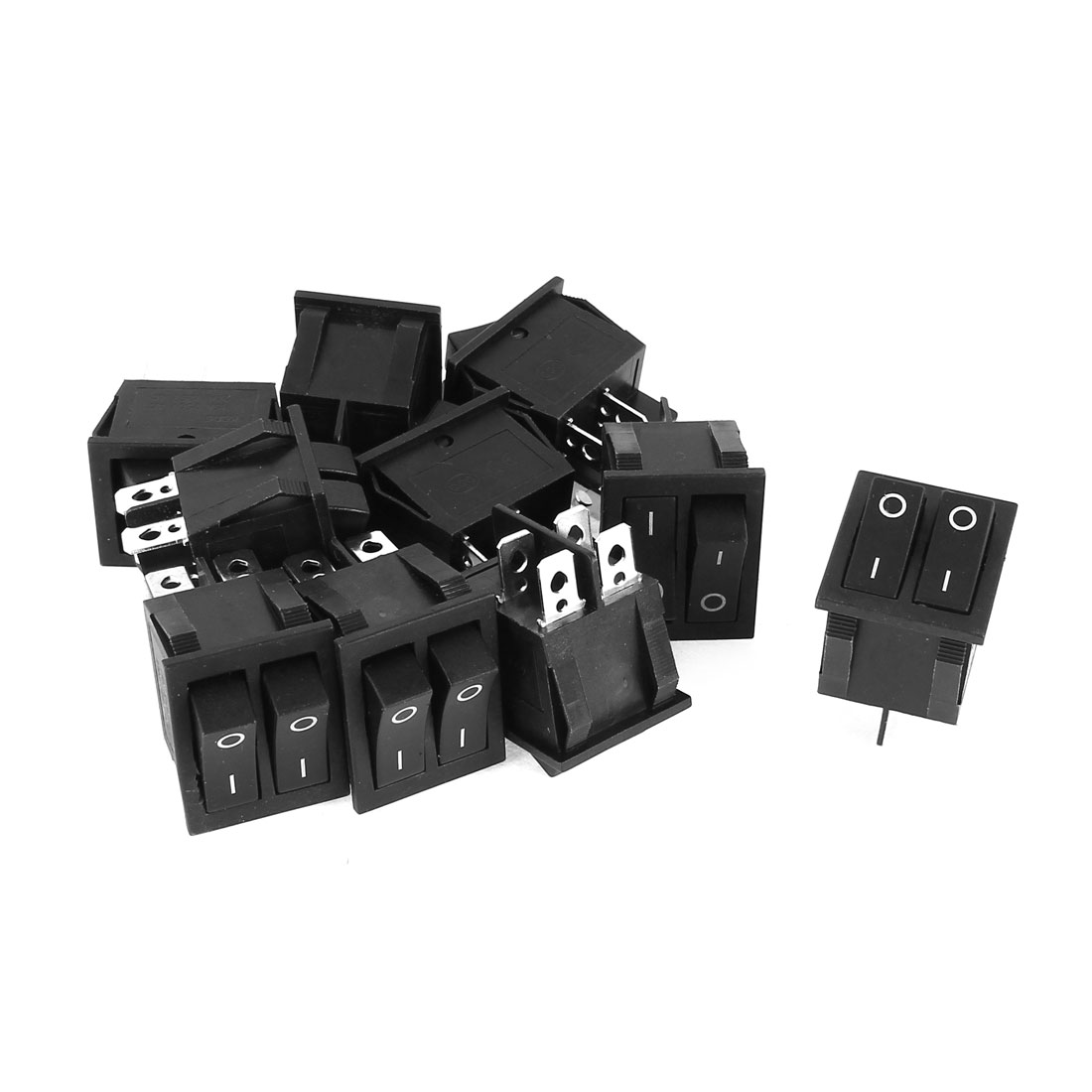 AC 250V 15A 125V 20A 4Pin Dual SPST ON/OFF 2-Position Rocker Switch Black 10 Pcs