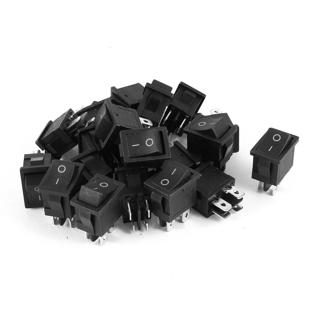 AC 250V 6A 125V 10A 4 Termials DPST ON/OFF 2-Positions Rocker Switch Black 20Pcs