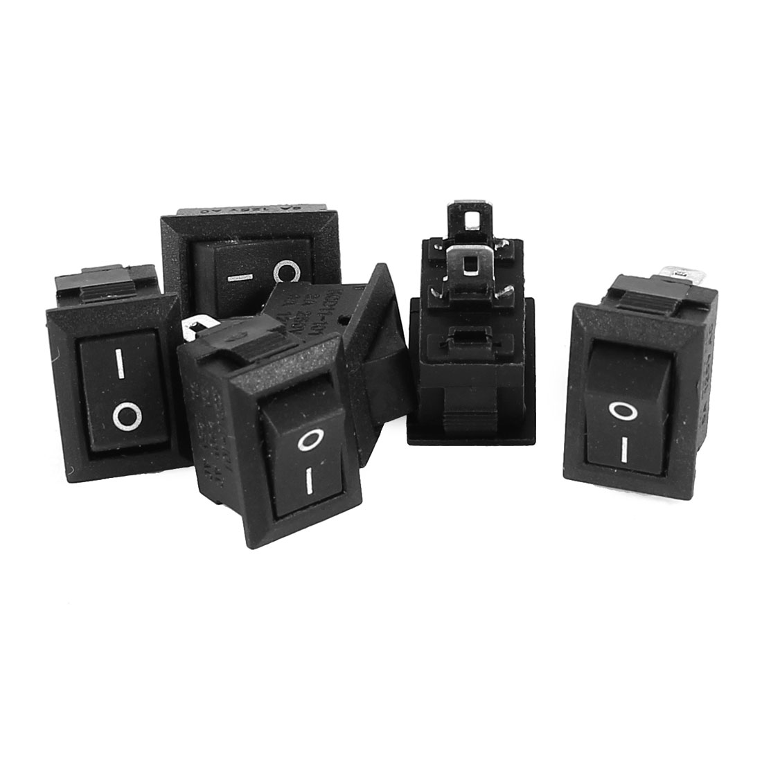 AC 250V 3A 125V 6A 2 Termials SPST ON/OFF 2 Positions Rocker Switch Black 6 Pcs