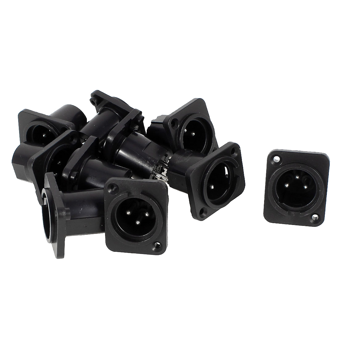 Audio XLR Male Plug Chassis Panel Mount Coupler Black Silver Tone 10 Pieces