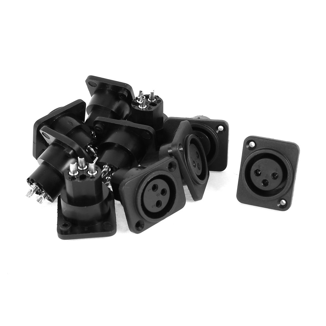 Audio XLR Female Jack Chassis Panel Mount Socket Black Silver Tone 10 Pcs