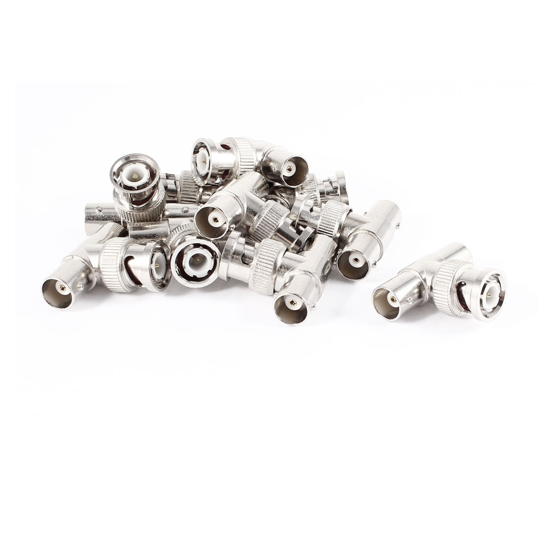 10 Pcs BNC Male Plug to Dual BNC Female Jack T Shape Adapter Connector Silver Tone