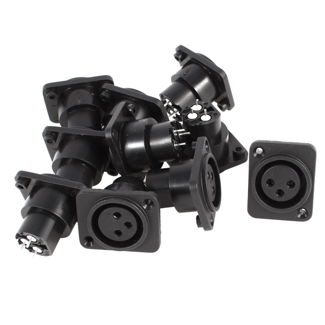 MIC XLR Female Jack Straight Panel Mounted Socket Black Silver Tone 10 Pcs