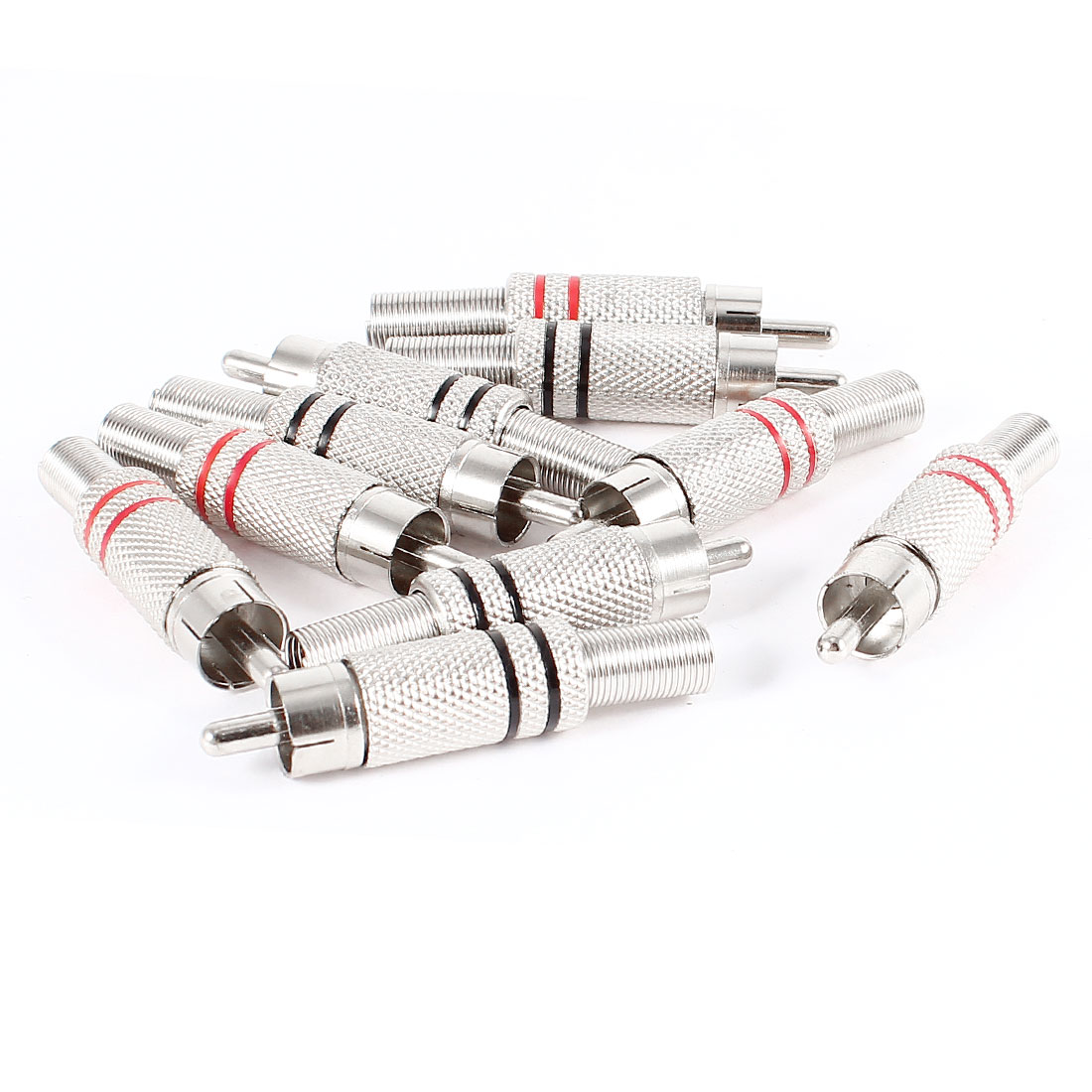 10 Pcs Silver Tone Alloy Spring Locking RCA Male Straight Couplers Audio Adapter