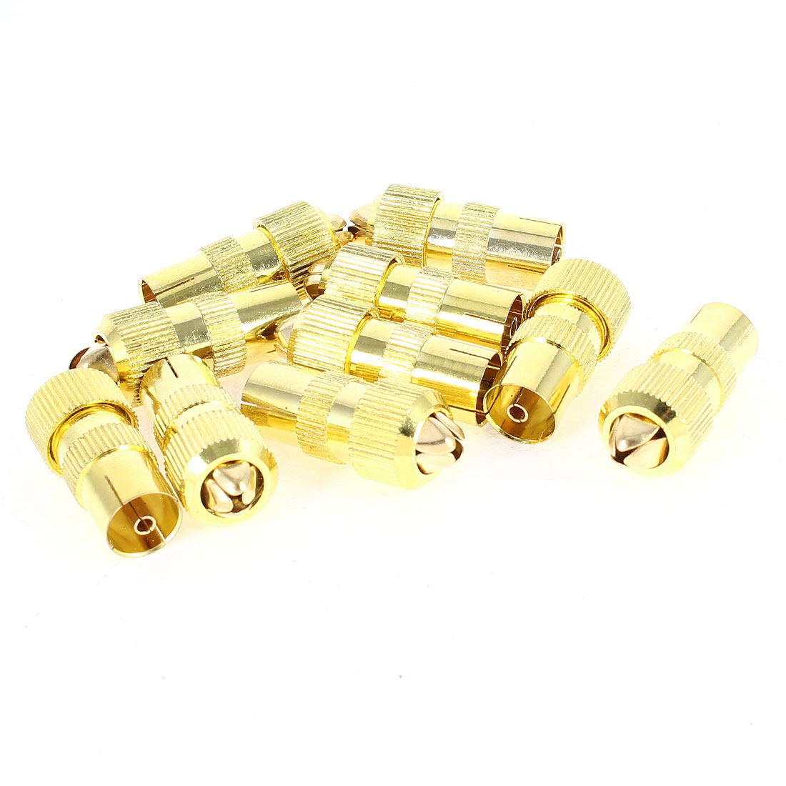 10 Pcs Gold Tone TV Antenna PAL FM Female Jack Straight Coaxial RF Adapter Connector