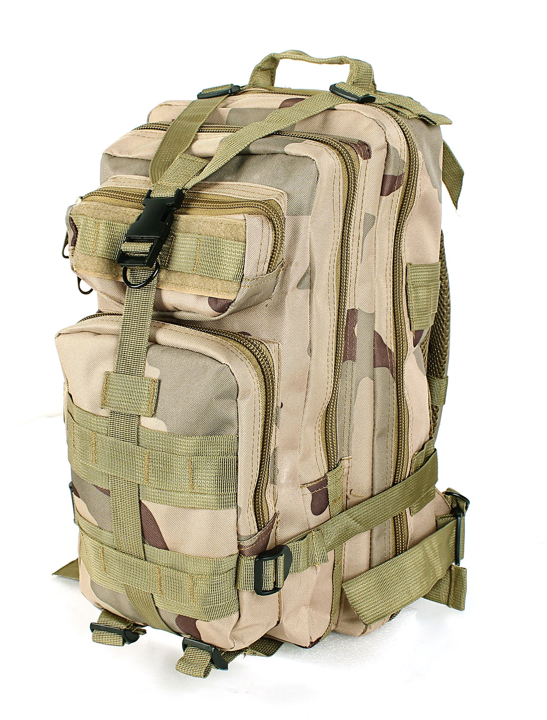 Military Tactical Camouflage Print Oxford Cloth Hiking Backpack Khaki Army Green