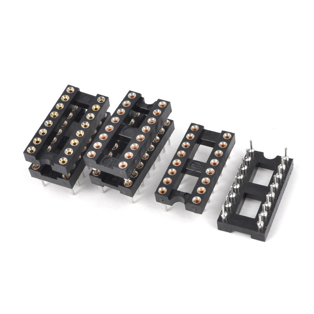6 Pieces 2.54mm Pitch 16 Round Pins Double Row DIP IC Socket Adapter Solder