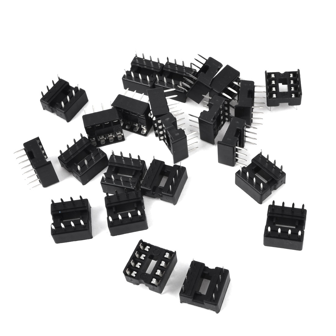 2.54mm Pitch Through Hole 8 Pins DIP IC Socket PCB Board Adapter 25 Pcs