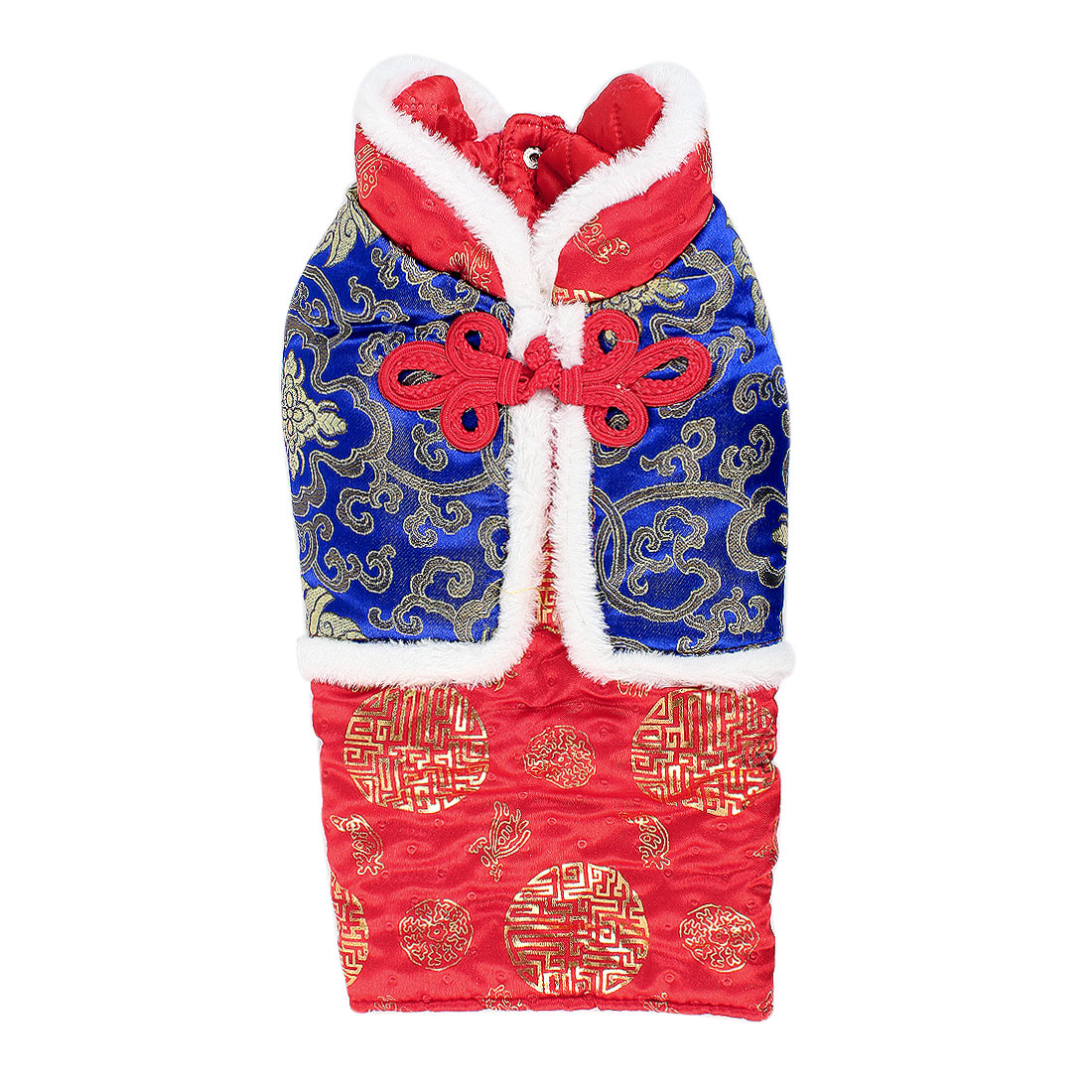 Pet Dog Yorkie Red Blue Chinese Tang Style Single Breasted Clothes Apparel Size L