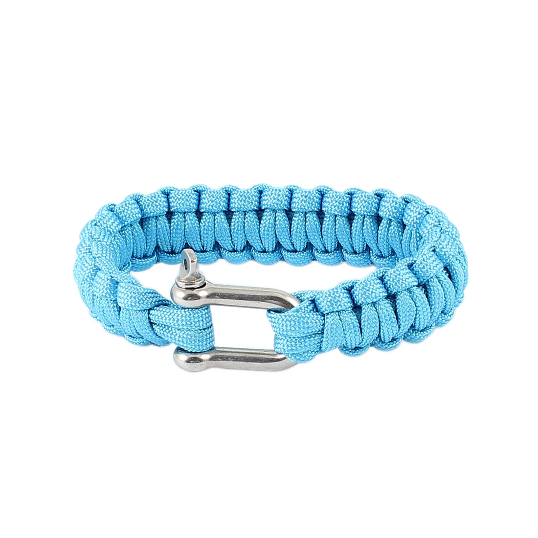 Outdoor Camping Blue Nylon Weave Textured Self-Rescue Cord Survival Bracelet