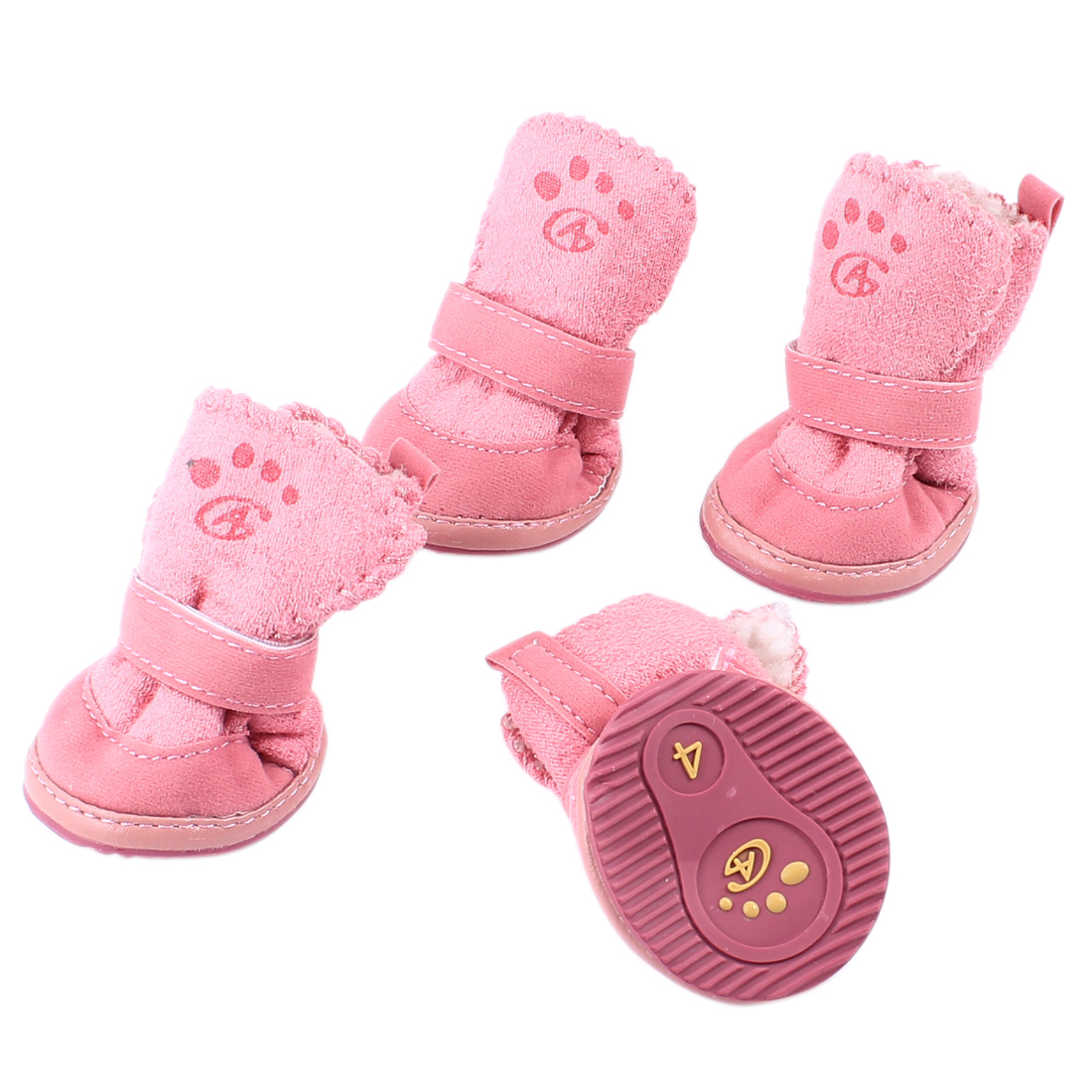 2 Pair Detachable Closure Pet Puppy Dog Shoes Booties Boots Pink Size XS