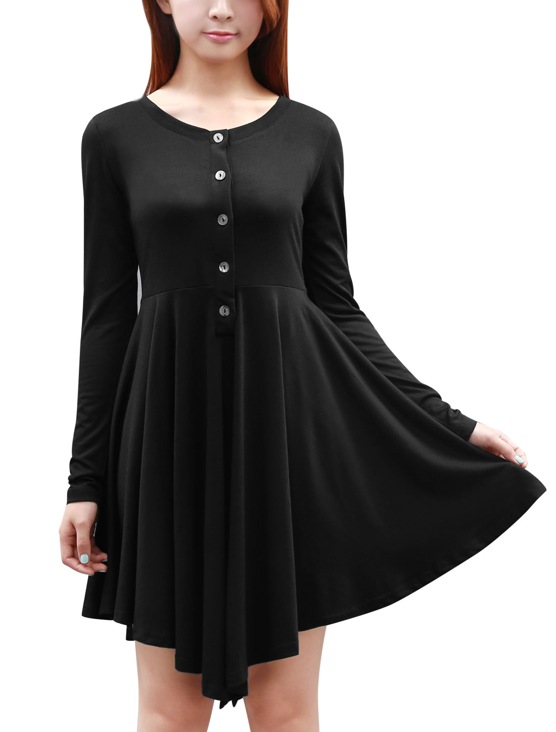 Women Round Neck Long-Sleeved Button Front Leisure Dress Black XS