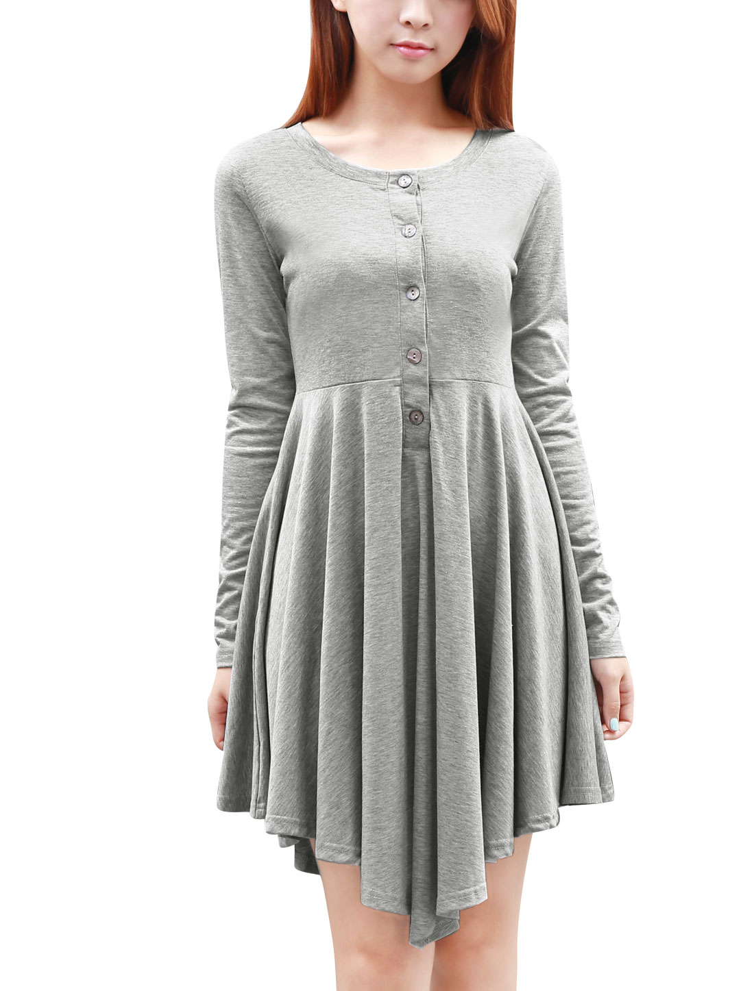 Women Stretchy Round Neck Long-Sleeved Button Front Dress Gray XS