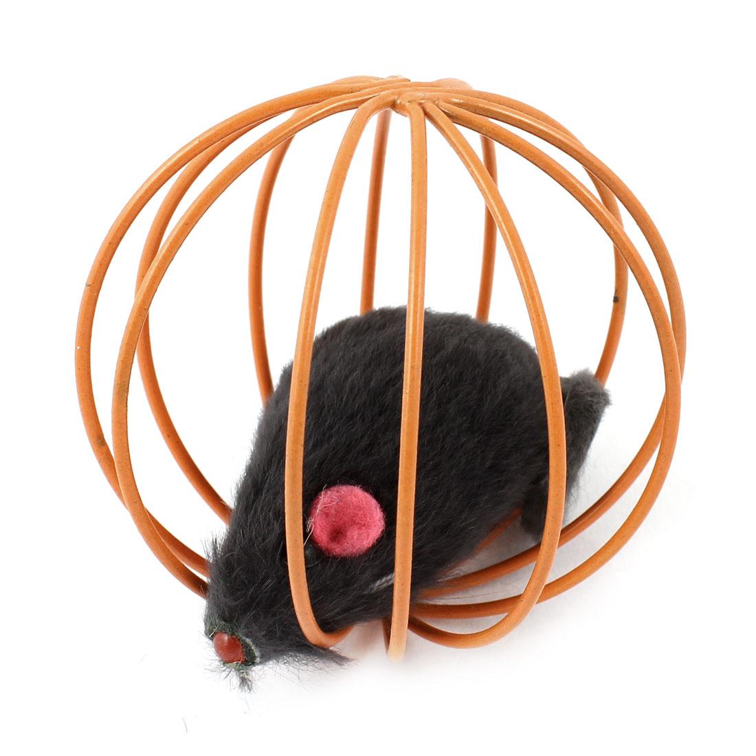 Gray Plush Emulational Mice Orange Metal Cage Dog Cat Pet Toy