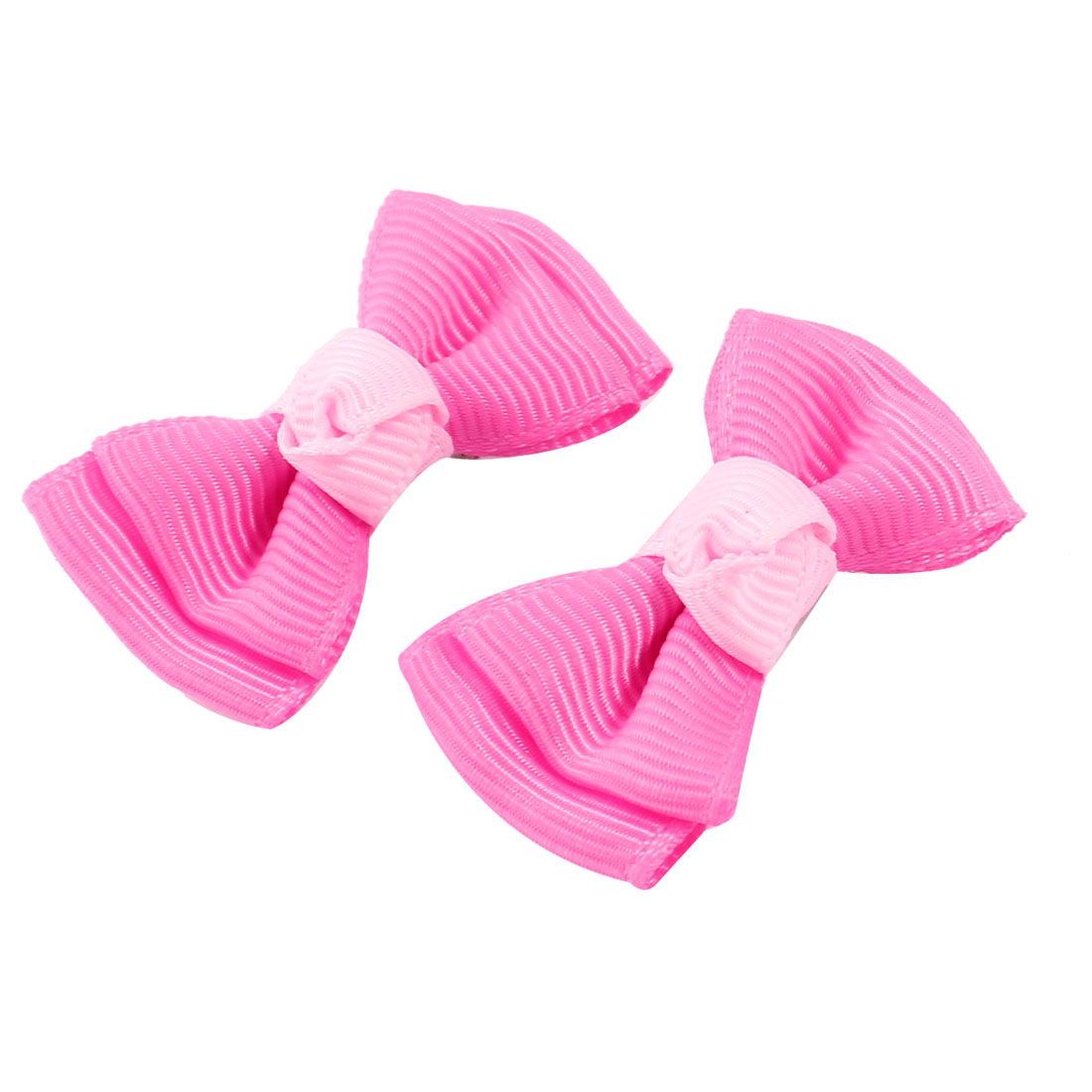 2pcs Fuchsia Nylon Double Layers Bowknot Accent Metallic Single Prong Alligator Hair Clip for Pet Cat Dog Puppy