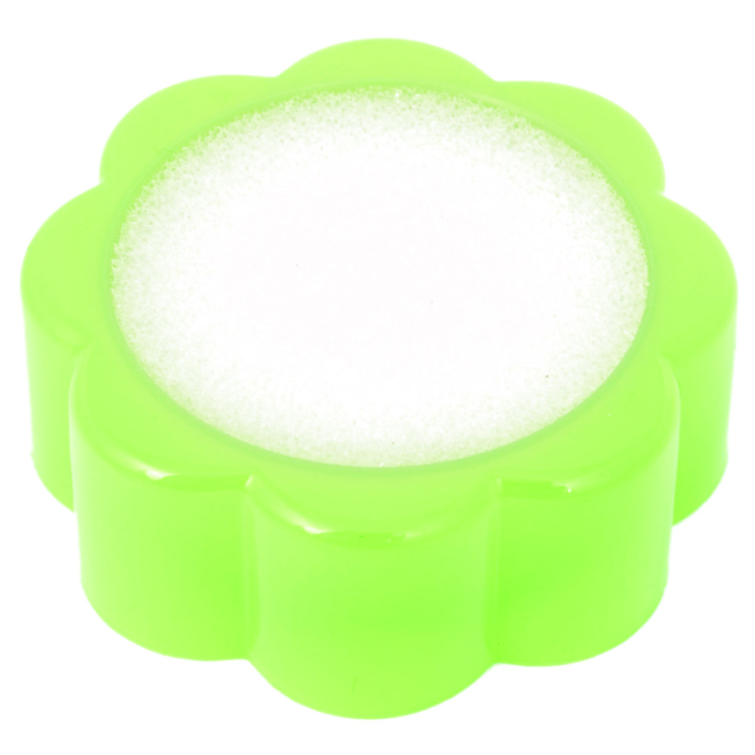Home Washbowl Green Plastic Case Flower Shaped Sponge Finger Wetting