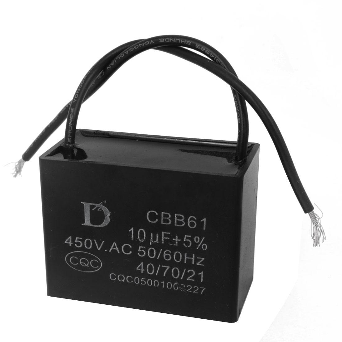 CBB61 10uF Polypropylene Film Motor Run Capacitor AC 450V