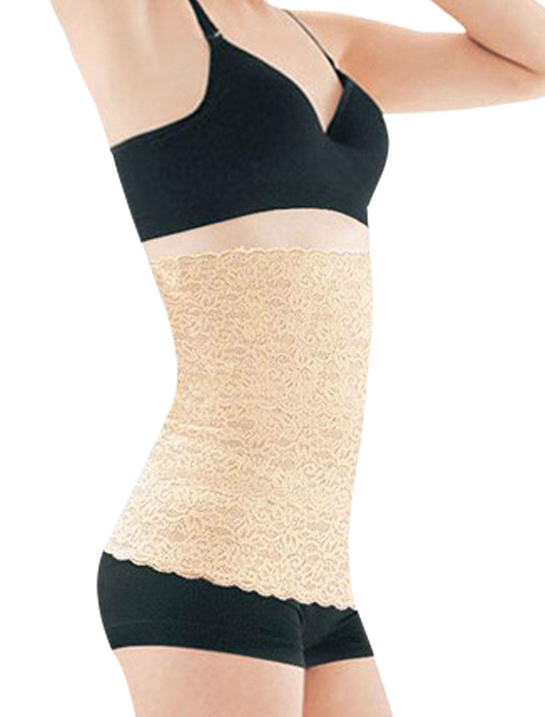 Women Floral Printed Tummy Girdle Belt Shapewear Corset Waist Cincher Beige XS