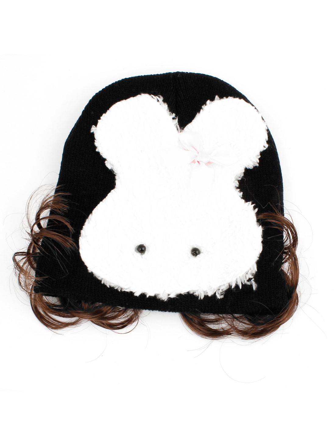 Rabbit Print Elastic Acrylic Knitted Beanie Wig Hat Cap Ears Protector Black