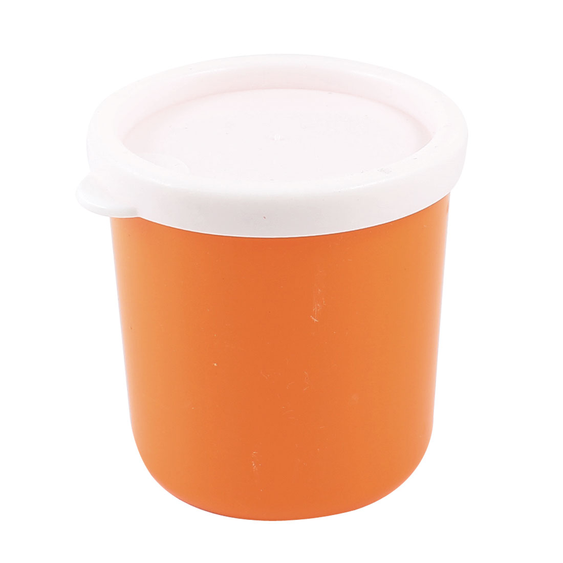 Home Office Orange Plastic Nonslip 210ml Water Drinking Cup Mug w Lid