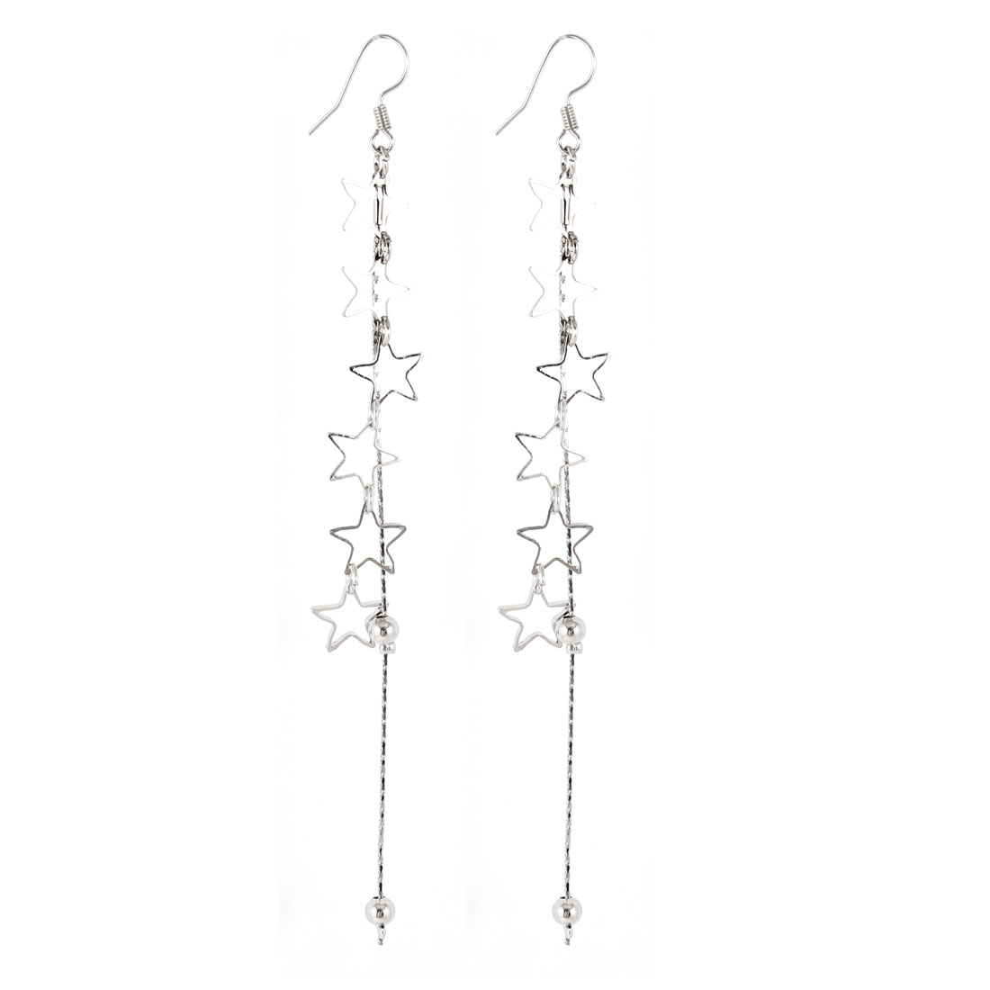 Pair Silver Tone Five Point Star Shape Dangling Hook Earrings for Lady