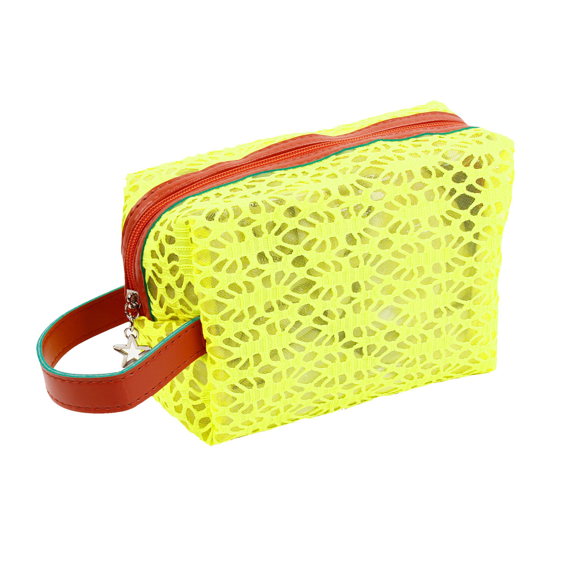 Women Yellow Hollow Out Mesh Design Zipper Cosmetic Bag Pouch Holder