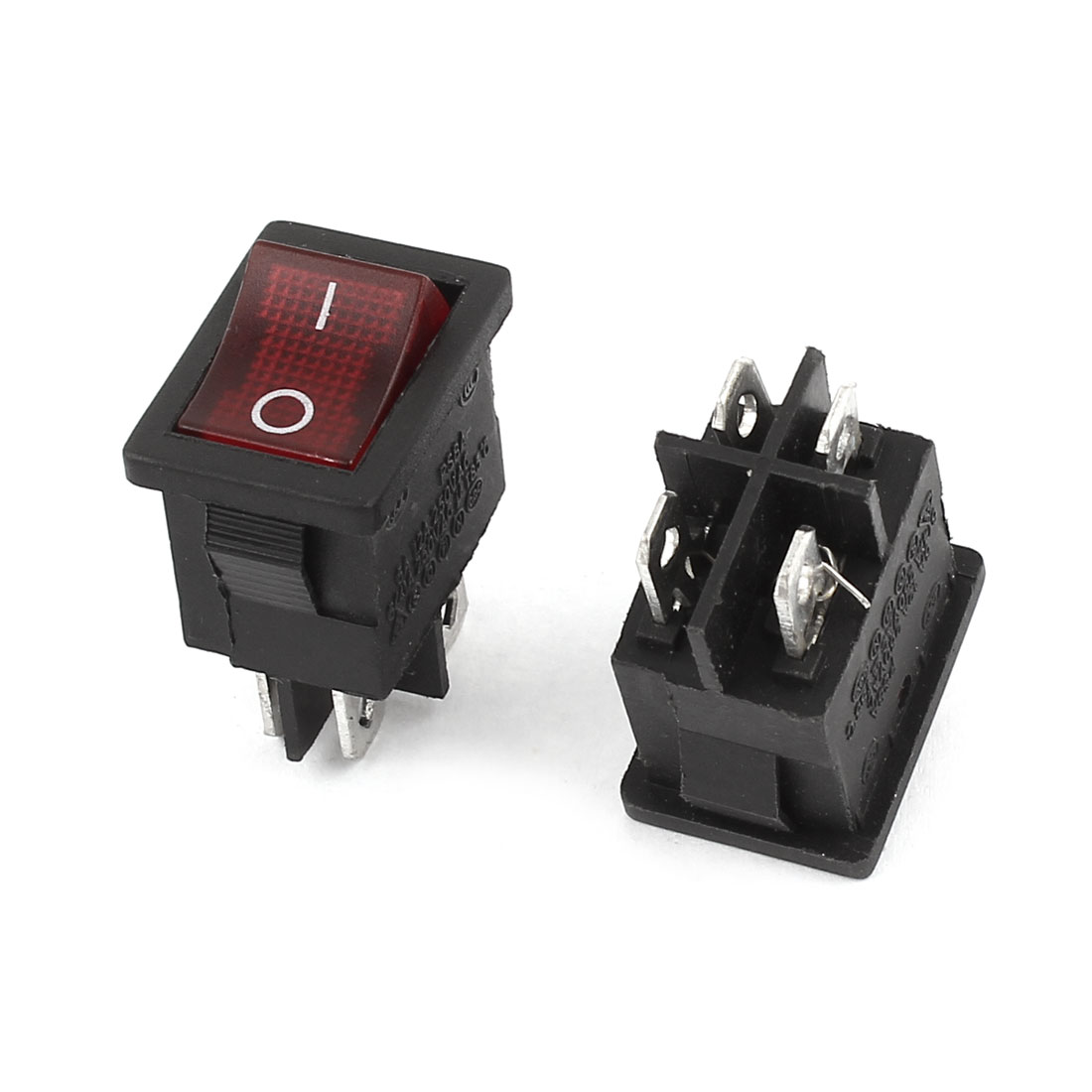 2 Pcs 4Pin DPST ON-OFF Snap in Panel Mount Rocker Switch AC 6A/250V 10A/125V